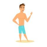Men in shorts waving Stock Photos