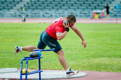 Men shot put. Chelyabinsk, Russia - July 05, 2015: men's shot put during Championship of Russia on track and field athletics among the blind, Chelyabinsk, Russia Stock Photos
