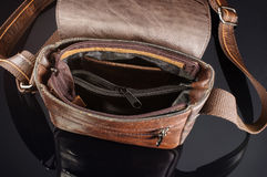 Men shoulder bag inside view Stock Photography