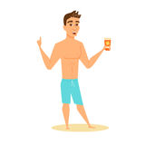 Men shows sunscreen. Men in shorts shows sunscreen. Happy guy on beach in swimsuit holding sunblock cream. Cartoon summer male character with lotion bottle Stock Photography