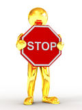 Men with sign stop Stock Photo