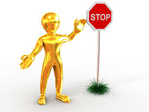 Men with sign stop Royalty Free Stock Photo