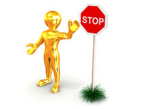Men with sign stop Stock Photos