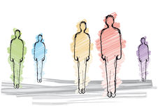 Men silhouette. Illustration with silhouettes of colored figures Royalty Free Stock Photo