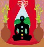 Men silhouette - chakra points Stock Photo