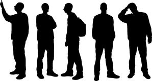 Men silhouettes. On white background Stock Photography