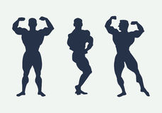 Men silhouettes athletes. Poses bodybuilders. Vector Royalty Free Stock Image