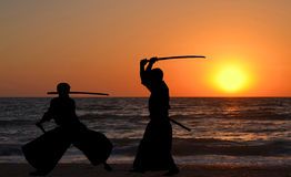 Men silhouettes practicing Aikido Royalty Free Stock Photography