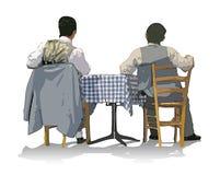 Men sitting. Two men sitting looking at something royalty free illustration