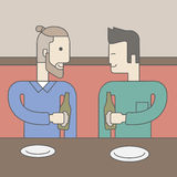 Men sitting in bar. Two men sitting in the bar drinking beer with empty plates on the table. Vector line design illustration. Square layout Royalty Free Stock Image