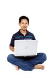 Men sitting with laptop Royalty Free Stock Photography
