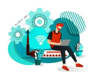 Men Sitting on Router Hub and Connected to Wifi Internet Network. Internet of Things to Get Information and Data. Flat Cartoon Sty. Le. Vector Illustration For vector illustration