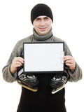 Men with skates with a blank sheet of paper Stock Photos