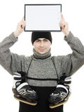 Men with skates with a blank sheet of paper Royalty Free Stock Image