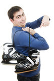 Men with skates points his finger Stock Photos