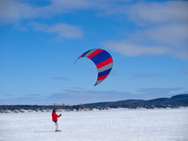 Men ski kiting Royalty Free Stock Photo
