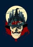 Men skull against night city, bootlegger design. Stock Images