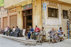 Men smoking in cairo old town egypt Royalty Free Stock Images