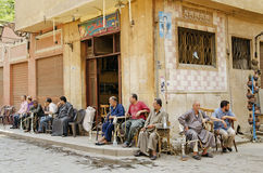 Men smoking shisha in cairo old town Stock Photo
