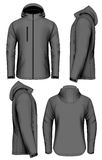 Men softshell jacket vector illustration. Men softshell jacket with hood design template. Fully editable handmade mesh. Vector illustration Royalty Free Stock Photos
