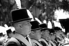 Men in soldier costume parade. BUENOS AREAS ARGENTINE NOVEMBER 17: Young unidentified men in soldier costume parade for the commemoration of the Italian Stock Photos