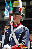 Men in soldier costume parade. BUENOS AREAS ARGENTINE NOVEMBER 17: Young unidentified men in soldier costume parade for the commemoration of the Italian Royalty Free Stock Images