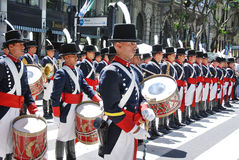 Men in soldier costume parade. BUENOS AREAS ARGENTINE NOVEMBER 17: Young unidentified men in soldier costume parade for the commemoration of the Italian Stock Images