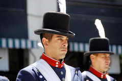 Men in soldier costume parade. BUENOS AREAS ARGENTINE NOVEMBER 17: Young unidentified men in soldier costume parade for the commemoration of the Italian Stock Photography