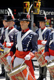 Men in soldier costume parade Stock Image