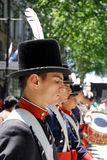 Men in soldier costume parade. BUENOS AREAS ARGENTINE NOVEMBER 17: Young unidentified men in soldier costume parade for the commemoration of the Italian Stock Image