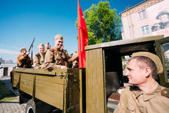 Men In Soviet WW2 Truck ZIS-5V, Soldiers Uniform. Prepare 9 May Royalty Free Stock Images