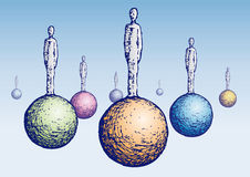 Men on the spheres (vector) Royalty Free Stock Images
