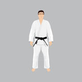 Men in sport wear judo and jiu-jitsu. Gi, black belt, martial arts Stock Images