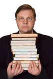 Men with stack of books. Isolated on white background Stock Photos