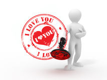 Men with stamp i love you Royalty Free Stock Image