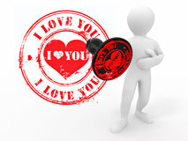 Men with stamp i love you Royalty Free Stock Photos