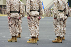 Men Standing at Attention. On the parade deck during a ceremony Royalty Free Stock Photo