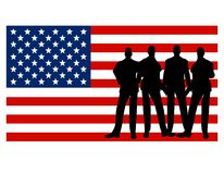 Men Standing In Front of American Flag. A clip art illustration featuring a group of business-type men silhouettes standing in front of the American flag Royalty Free Stock Images
