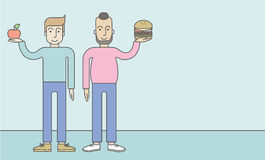 Men standing with hamburger and apple Stock Images