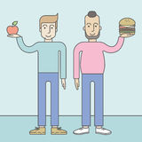 Men standing with hamburger and apple Stock Photos