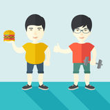Men standing with hamburger and dumbbell Royalty Free Stock Image
