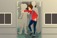 Men Standing Inside a Train Illustration stock images