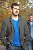 Men Standing Outside In Autumn Woodland Royalty Free Stock Photo