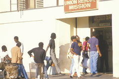 Men standing at the Union Rescue Mission Stock Images
