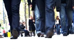Men steps with their blue jeans Stock Photos
