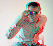 Men in stereo  glasses. Young man, looking through stereo glasses (anaglyph effect. need stereo glasses to view in 3D Royalty Free Stock Photo