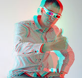 Men in stereo  glasses. (3D anaglyph effect photo. to view -need stereo glasses Stock Image