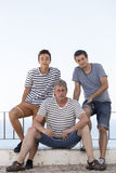 Men with striped shirts in summer Royalty Free Stock Photos