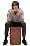 men suitcase Royaltyfria Bilder