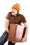 Men with suitcase Stock Photo